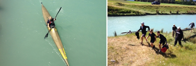 Birds eye view of the kayak, and my amazing support crew pushing me up the hill on to my bike!