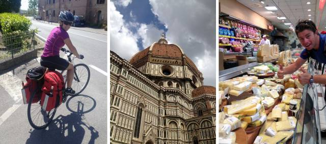 It's important to keep well hydrated while cycling; Duomo in Florence; So much cheese!