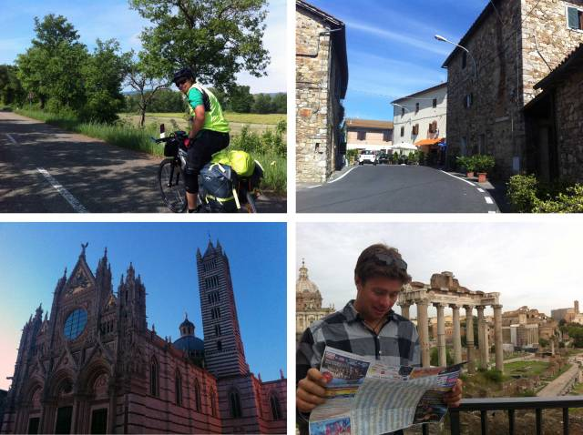 Cruising along enjoying the scenery; More surprises around every bend; Richie on navigation!; Architecture in Siena.