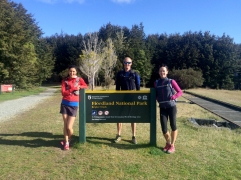 Caeley, Scott and Jacqs at the entrance to the Kepler track