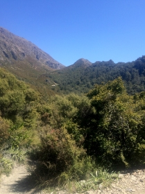 You can just make out Pinnacles hut, looking back