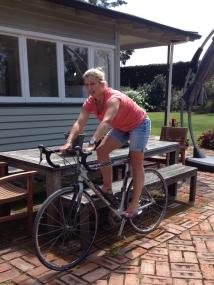 Just making sure Scott's bike set-up is correct. Insert longer legs...!